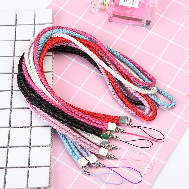 dây đeo Nhà sản xuất len hỗn hợp pu da bện dây buộc khóa dây buộc giấy chứng nhận dây đeo da dây đ