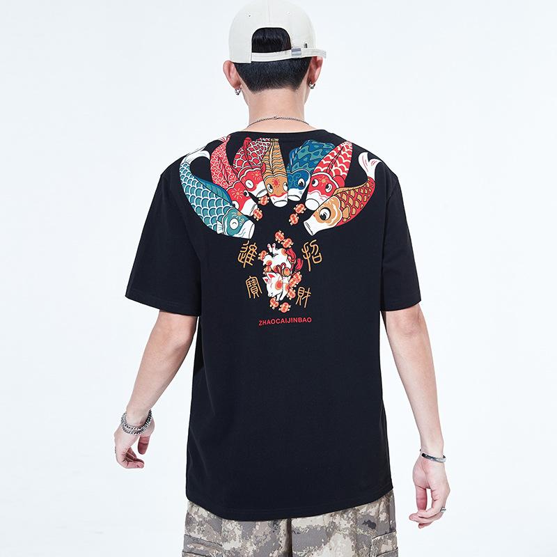 Áo thun Mùa hè 2020 nam mới áo thun ngắn tay kiểu Trung Quốc cá chép in cổ tròn áo cotton hàng đầu t