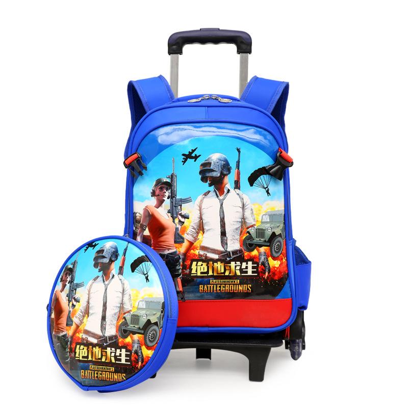 KUBINXIONG Cặp học sinh Hot Jedi sống sót ăn gà trẻ em xe đẩy túi học sinh ba vòng leo cầu thang để