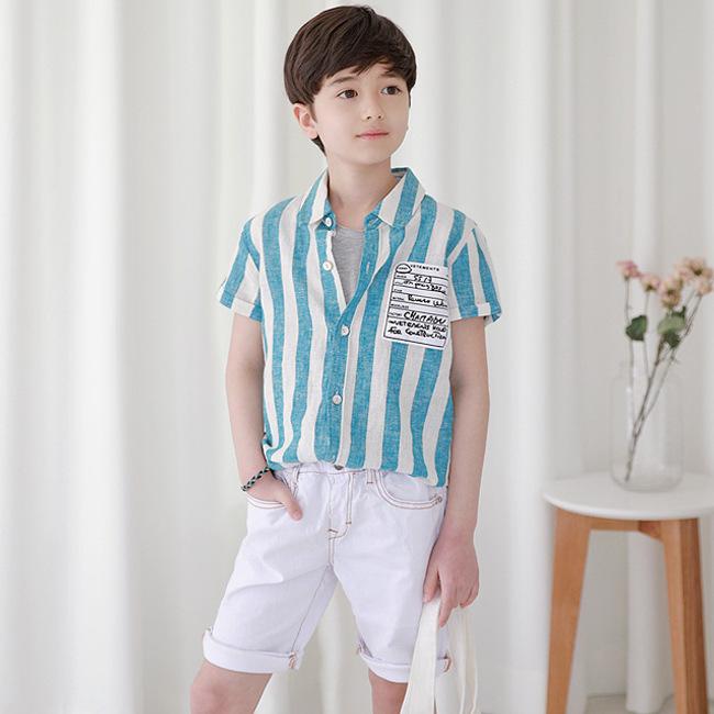 MIMINI Áo Sơ-mi trẻ em MTS4060 Quần áo thời trang trẻ em Hàn Quốc mùa hè quần áo trẻ em trung tính g