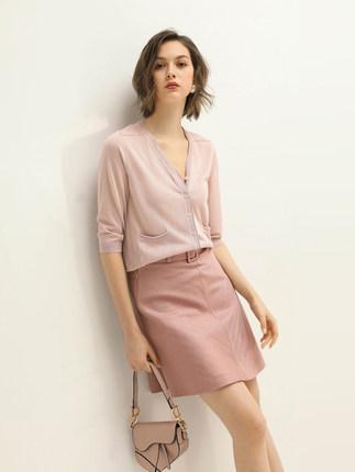 COCOBELLA Áo khoác Cardigan  năm điểm tay áo băng vải ngắn nhỏ cardigan nữ nhiều màu dệt kim nhẹ điề