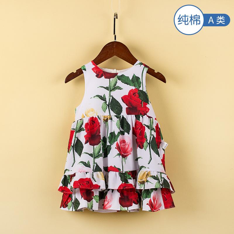Cotton fairy Âu Mỹ Mùa hè 2020 nhà máy quần áo trẻ em mới in trực tiếp váy cô gái hoa hồng không tay