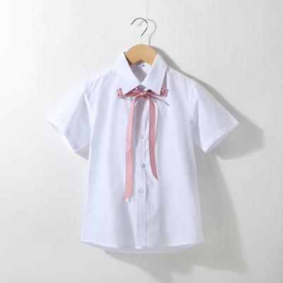 Áo Sơ-mi trẻ em Áo sơ mi bé gái 2020 xuân mới trẻ em Hàn Quốc thắt nơ ren áo sơ mi búp bê áo sơ mi t