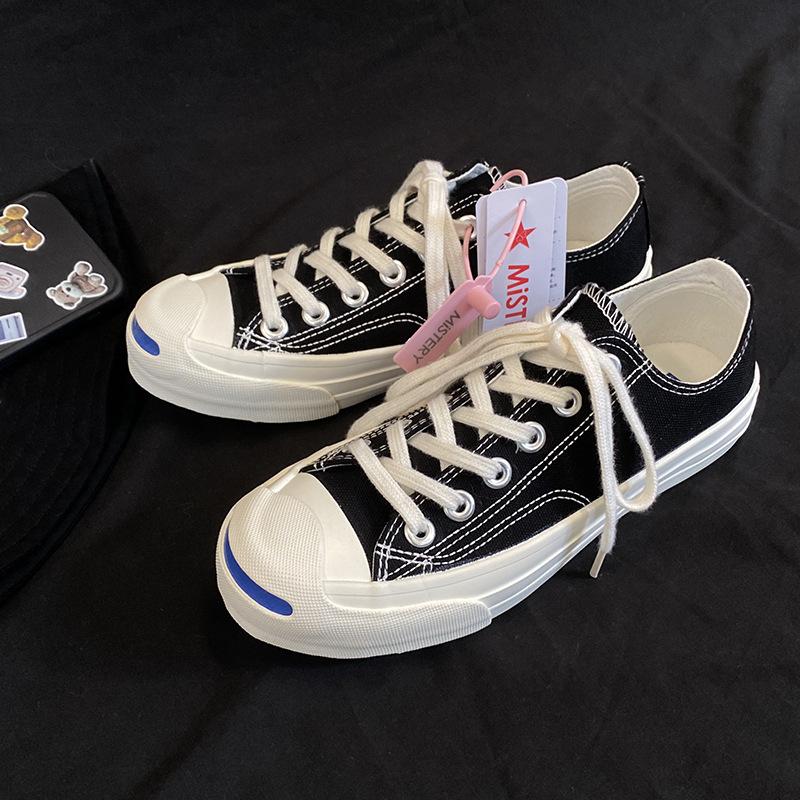 Mistery Giày Sneaker / Giày trượt ván Giày vải hở mũi retro 1970s sinh viên mới Phiên bản tiếng Hàn
