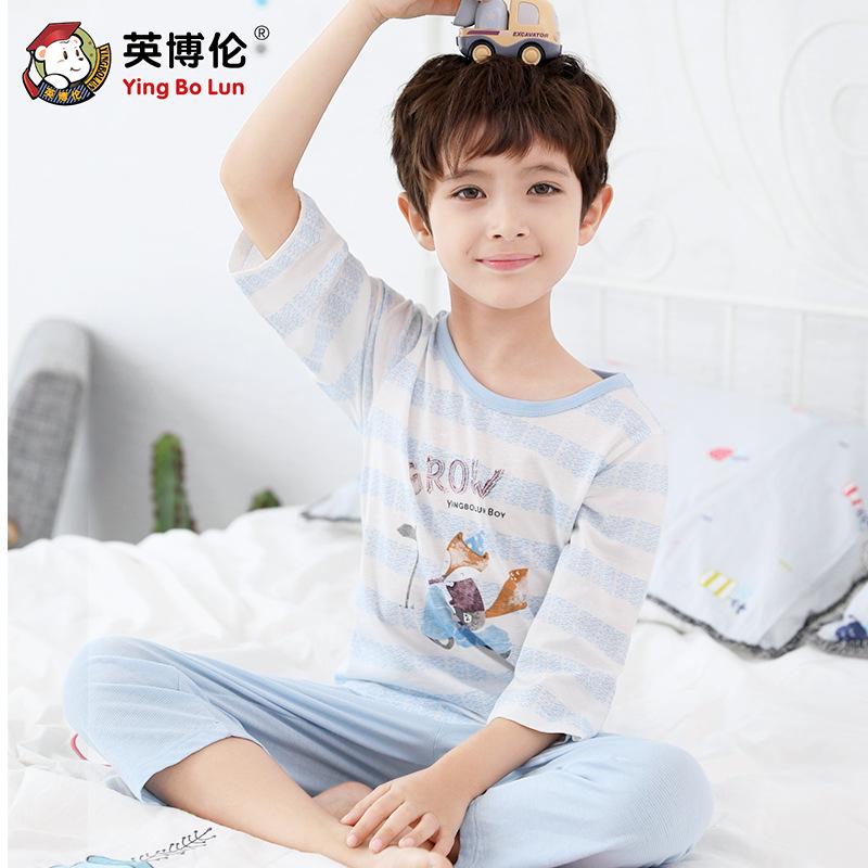 YINGBOLUN Đồ ngủ trẻ em Inbron mùa hè của cậu bé phục vụ tại nhà phù hợp với quần áo cotton trẻ em t