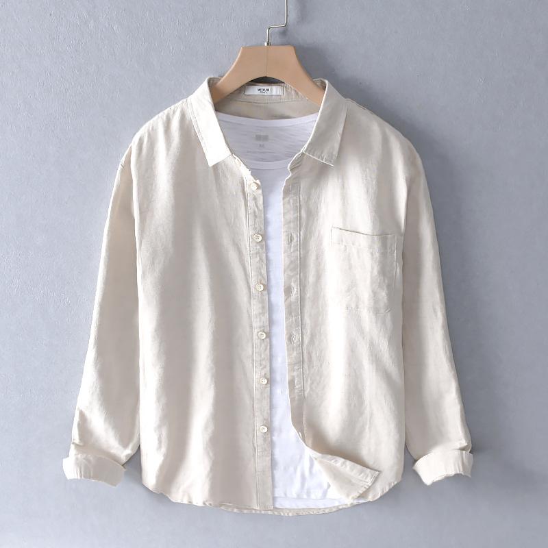 DENIFU tay dài  Mùa thu đông mới áo sơ mi nam dài tay cotton và áo sơ mi trắng lanh
