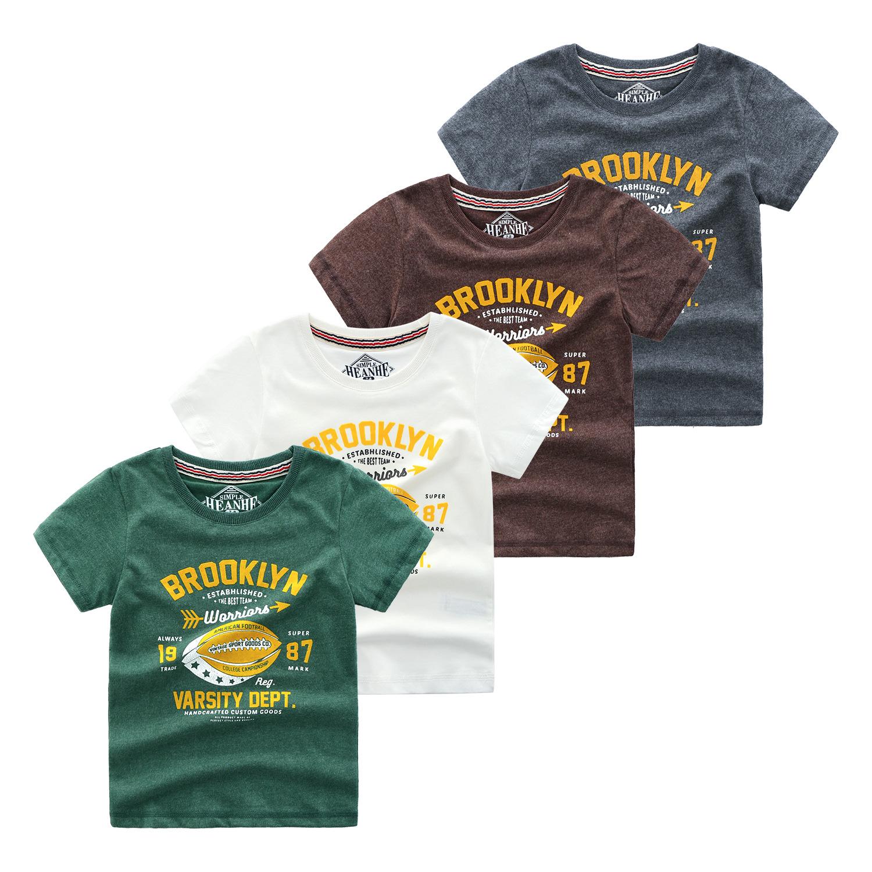HEANHE Âu Mỹ Trẻ em ngoại thương theo phong cách châu Âu và Mỹ mặc áo thun bé trai tay ngắn