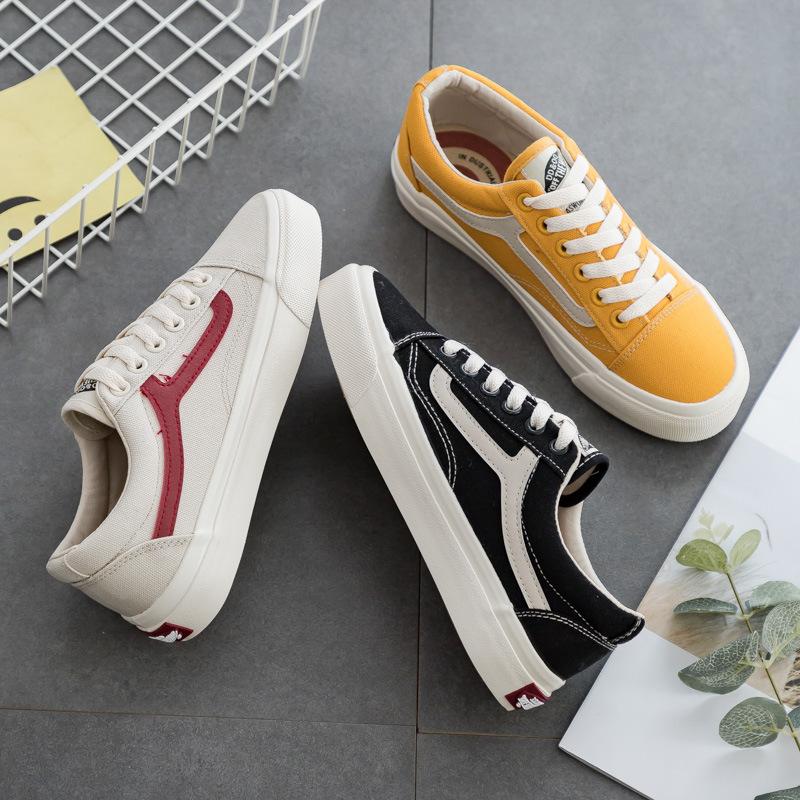 DD&OO Giày vải đen nữ 2019 phiên bản Hàn Quốc ulzzang Harajuku retro thập niên 1970 giày thông minh