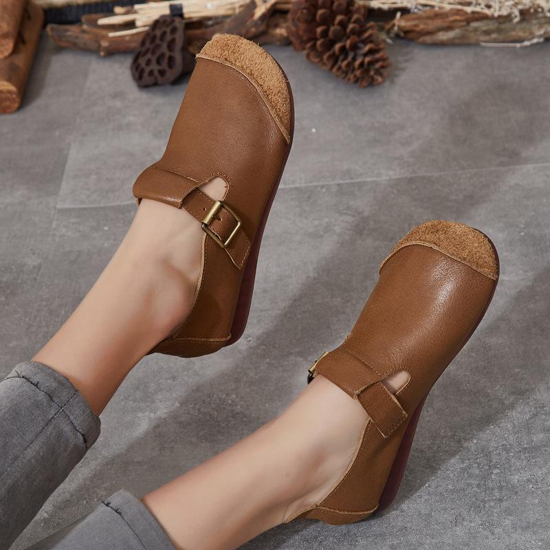 SMSH Thị trường giày nữ Mùa xuân 2020 phong cách dân tộc mới retro da thủ công tròn đầu phẳng đáy th