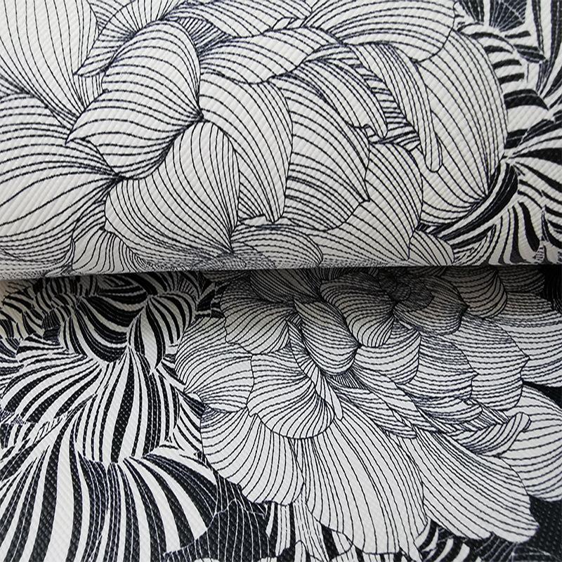 HUASHIJIA Vật liệu da Pvc da màu đen và trắng hoa mẫu đơn in không độc hại và không mùi nhà nóng tùy