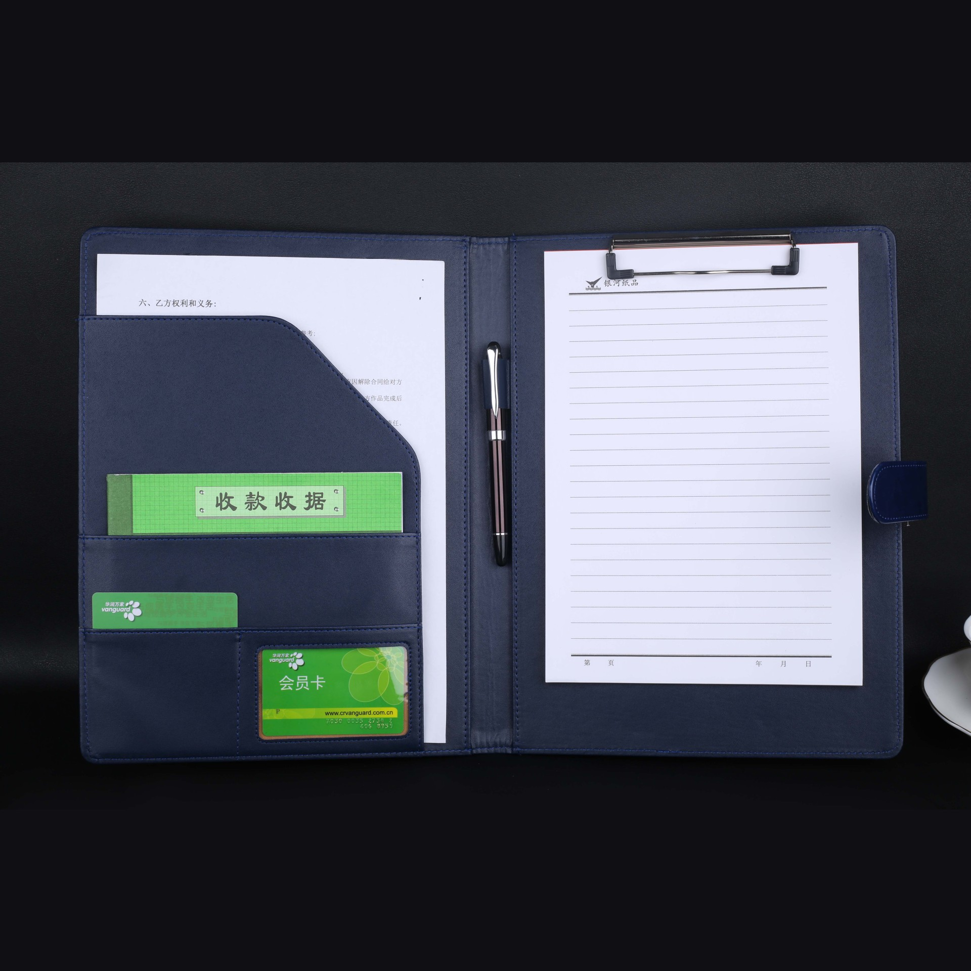 CCGOOD Đồ dùng văn phòng Hợp đồng giả da A5A4, lập kế hoạch, ký kết, thư mục đa chức năng, thư mục n