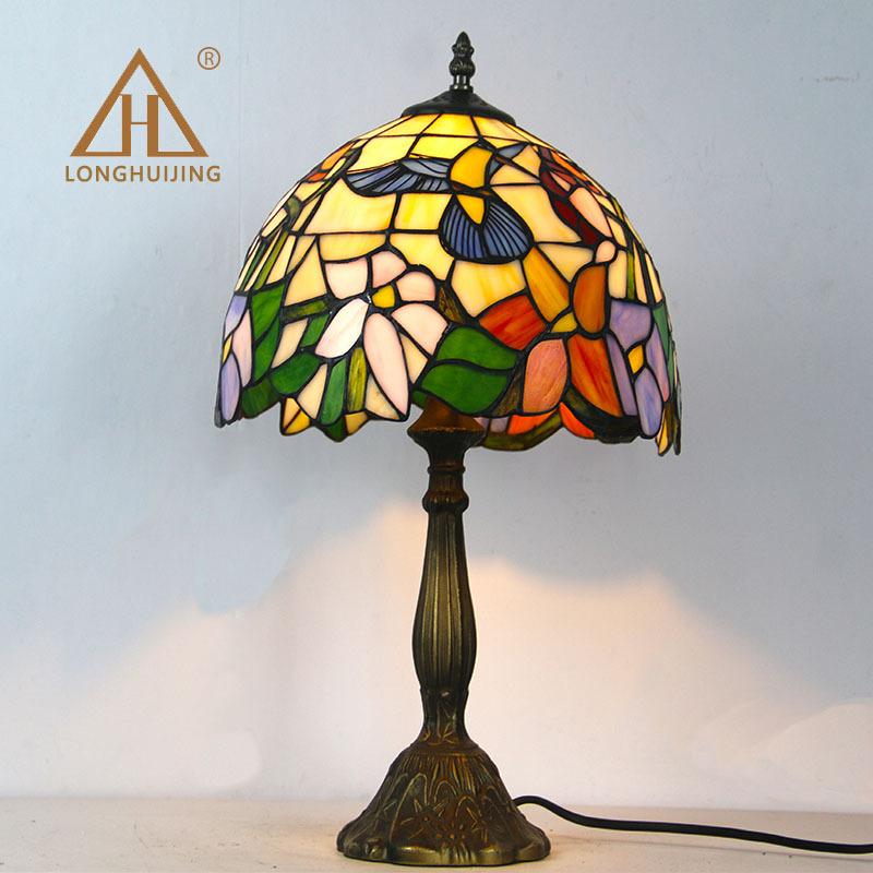LONGHUIJING Thiết bị chiếu sáng 12 inch Phong cách châu Âu Tiffany đọc mắt bảo vệ đèn bàn phòng ngủ