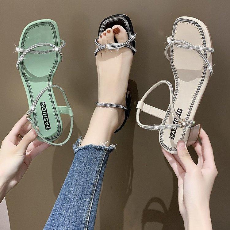 Thị trường giày nữ Giày nữ mùa hè 2020 khí chất mới của Hàn Quốc Giày nữ một dây khóa PU giữa gót
