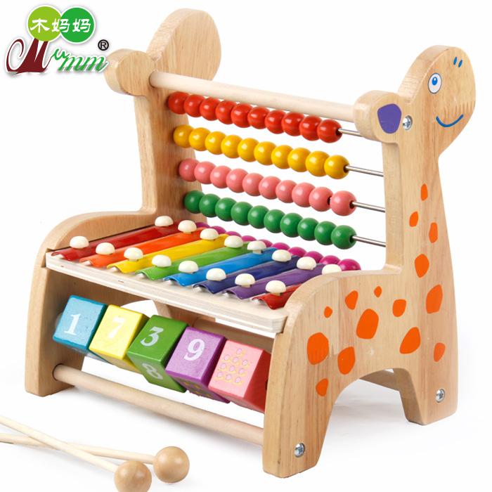 MINGYOU Đồ chơi bằng gỗ Gỗ tính đa năng khung hình tính toán bát phân đa năng gõ piano bàn tính giáo