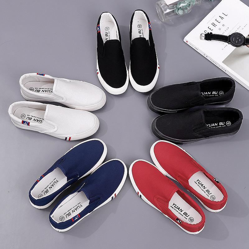 YUANBU giày vải Bước dài mùa xuân vải nhỏ giày trắng nữ sinh viên Hàn Quốc giày vải phẳng giày giản