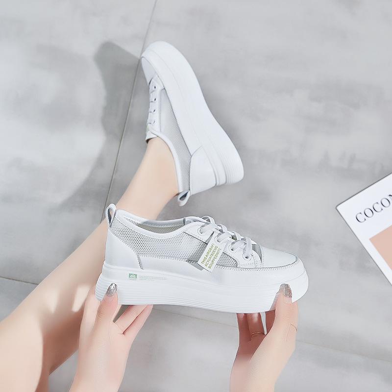 ZUZI giày bánh mì / giày Platform Giày da nữ màu trắng 2020 mùa xuân và mùa hè mới Hàn Quốc siêu lửa