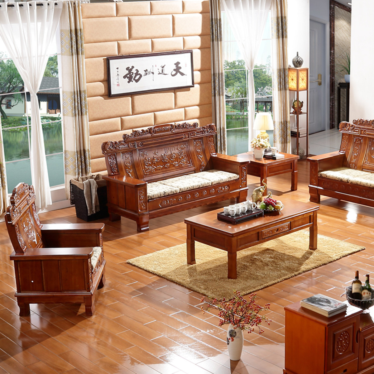 Bộ ghế sofa bằng gỗ rắn nguyên khối phong cách Trung Quốc .