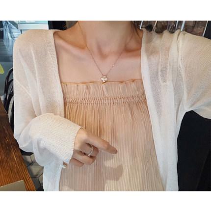 Áo khoác Cardigan  Áo chống nắng mỏng cardigan nữ 2020 hè mới lụa tơ tằm đan rất cổ tích ra hoang dã