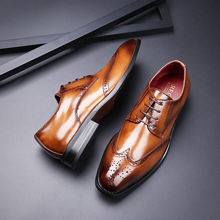 RECOBA Giày da 2020 Nhật Bản New England Da chạm khắc Giày công sở chính thức Giày nam Bullock Oxfor