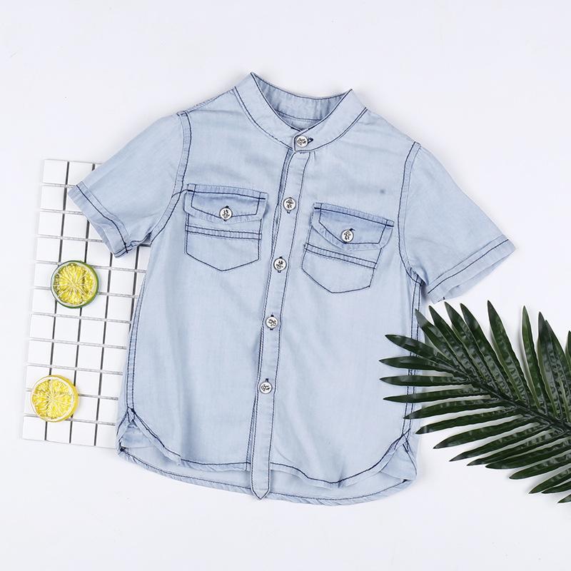 Áo Sơ-mi trẻ em Áo cotton trẻ em mùa hè của Doha Doha áo sơ mi tay ngắn cho bé trai trung niên