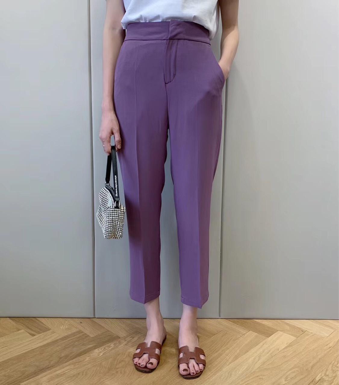 Quần mùa hè sẽ thoáng khí kết cấu chống nhăn vải cao eo phù hợp với quần nữ 9 điểm KZ0602G