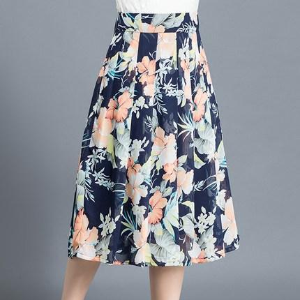 váy  Váy voan hoa nhỏ nữ 2020 mùa hè mới là váy mỏng trong phần dài eo cao một chiếc váy xếp ly xếp