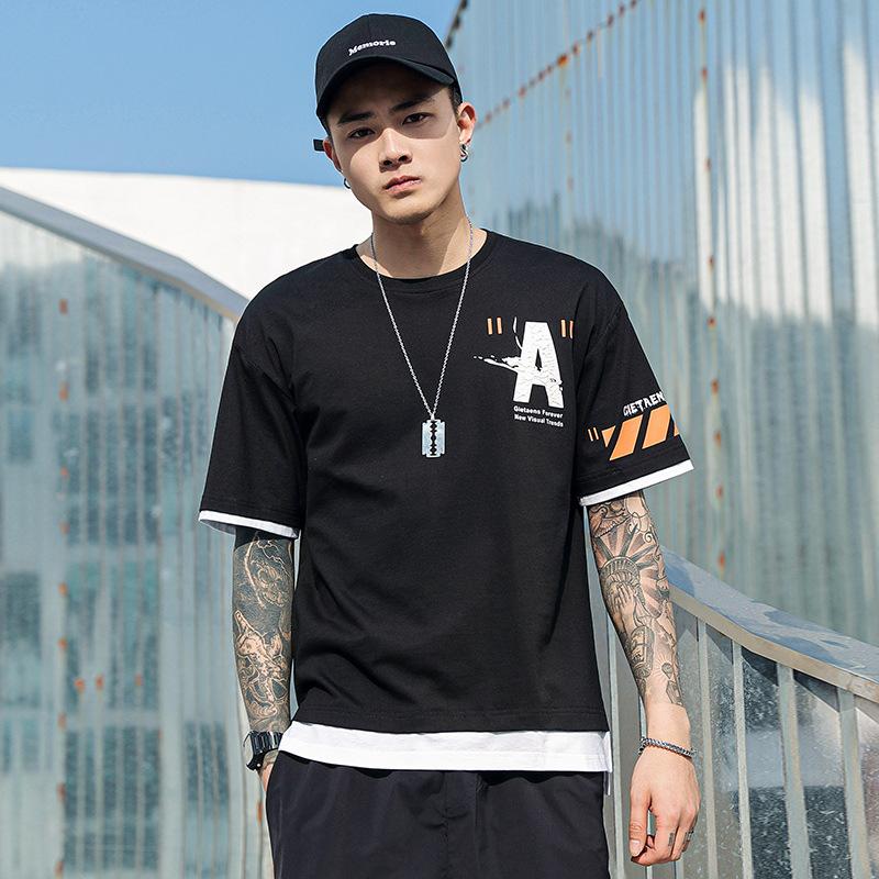 Áo thun nam mùa hè 2020 hip-hop nam thương hiệu áo thun thủy triều ngắn tay kiểu Hồng Kông tay lửng