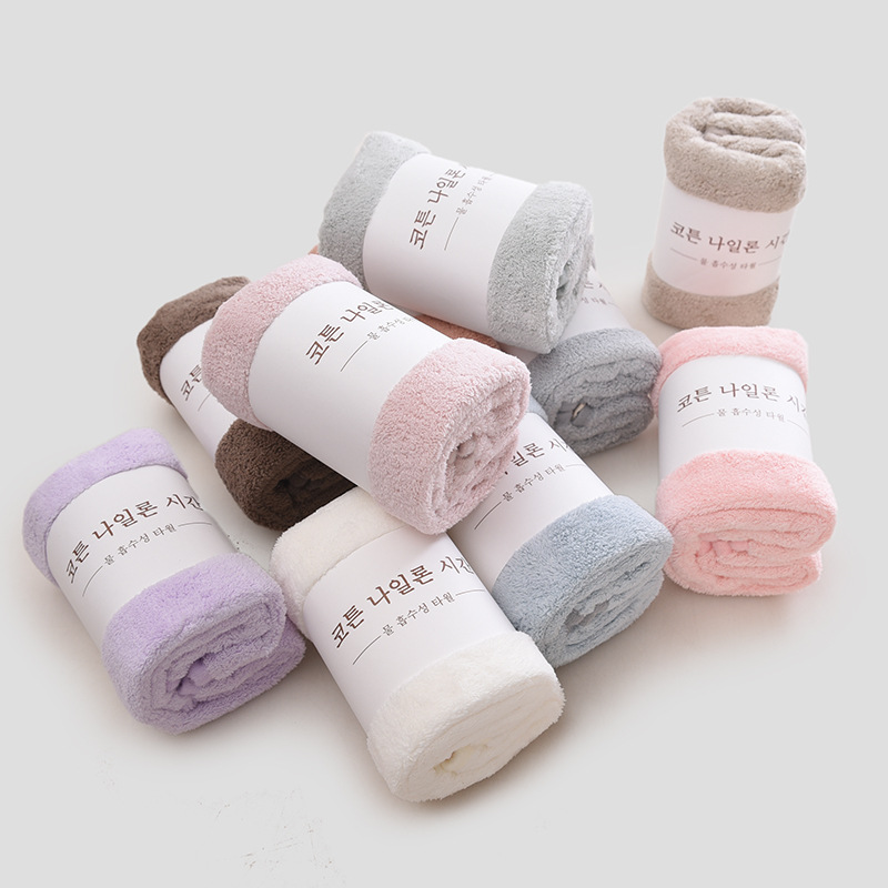 JJSG Dệt may gia dụng Mới hộ gia đình phong cách Nhật Bản mật độ cao khăn nhung san hô mềm mềm dày đ