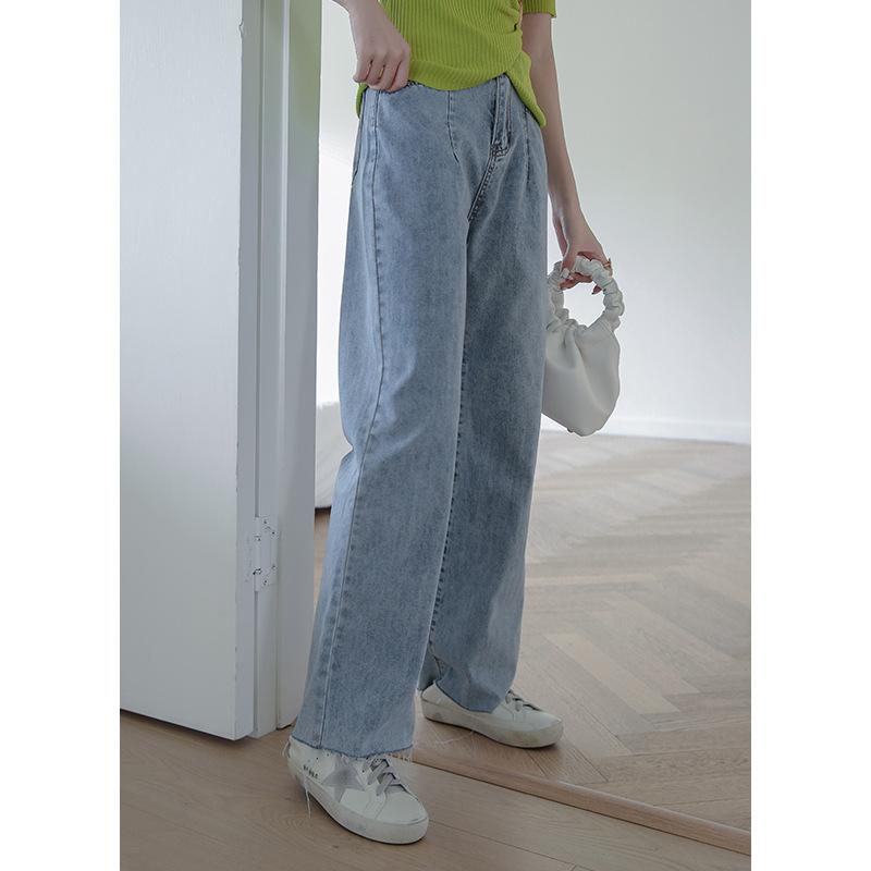 JIYU quần Jean 2020 Mùa hè mới giặt Quần jean ống rộng màu xanh Retro Nữ Hàn Quốc Phiên bản cao Eo c