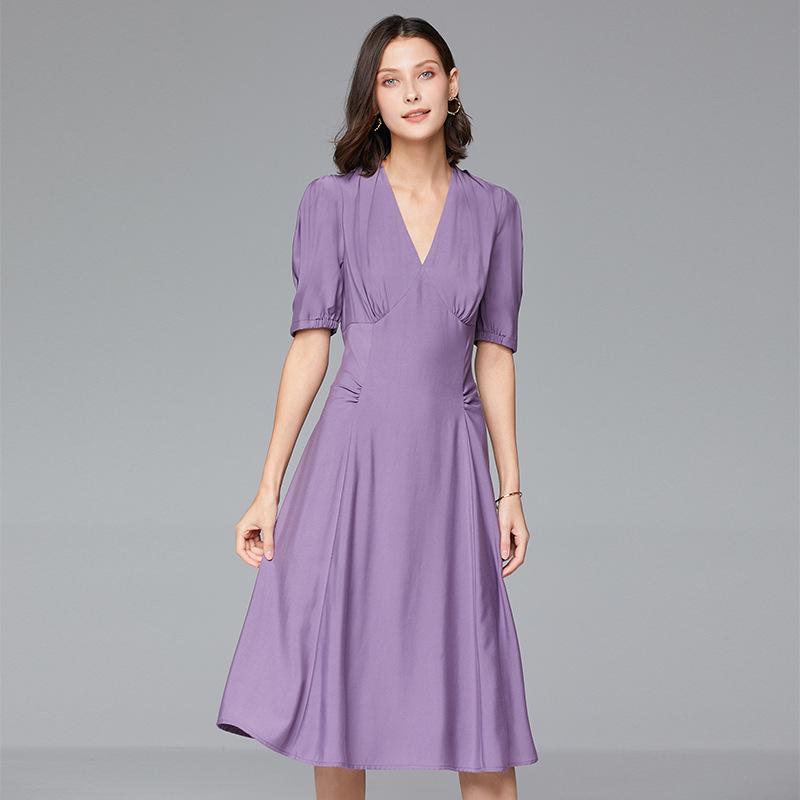 MDFL Đầm Nhà máy cửa hàng Thâm Quyến bán hàng trực tiếp 2020 hè mới đầm màu rắn cổ chữ V dáng dài th