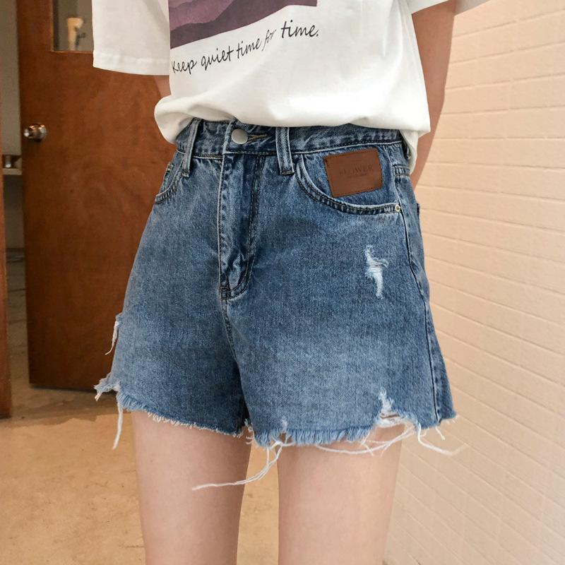 APXIVI Quần [Ge Ming] Quần short jeans nữ mùa hè 2020 mới eo cao rộng Slim Slim rách quần nóng R085G