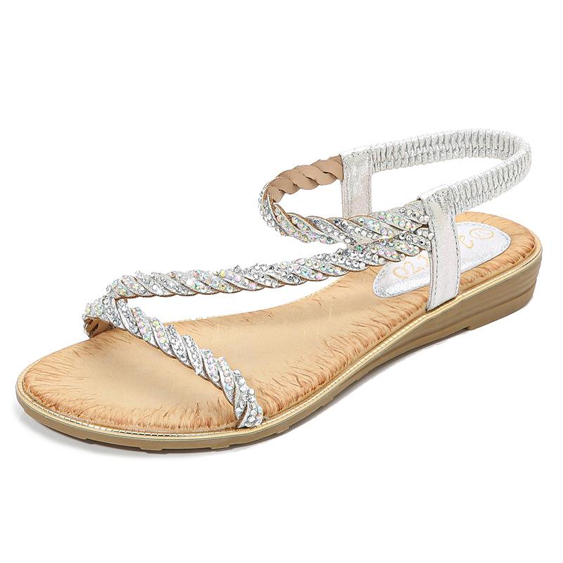 DMZY Giày nữ trào lưu Hot New 2020 sandal nữ sequin rhinestone rhinestone giày nữ trống rỗng ban nhạ