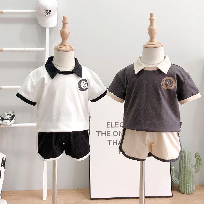 Đồ Suits trẻ em Bộ đồ trẻ em hè 2019 sản phẩm mới bé trai và bé gái ve áo ngắn tay áo thun + quần sh