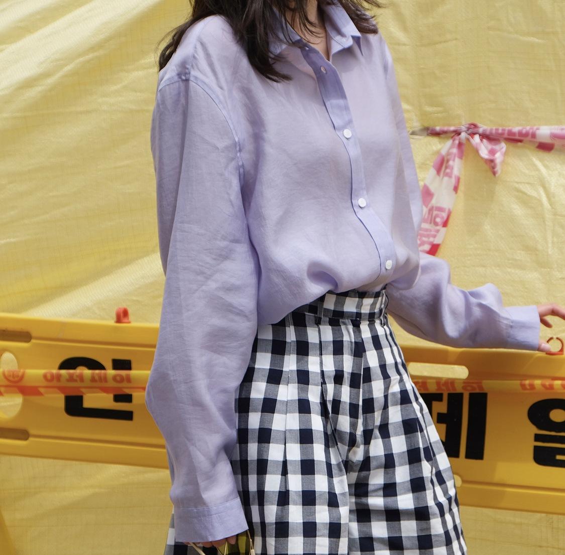 Áo sơ mi Louvre mùa hè mới Hàn Quốc chic áo sơ mi retro lỏng lẻo và hoang dã mát mẻ mỏng Tencel áo s