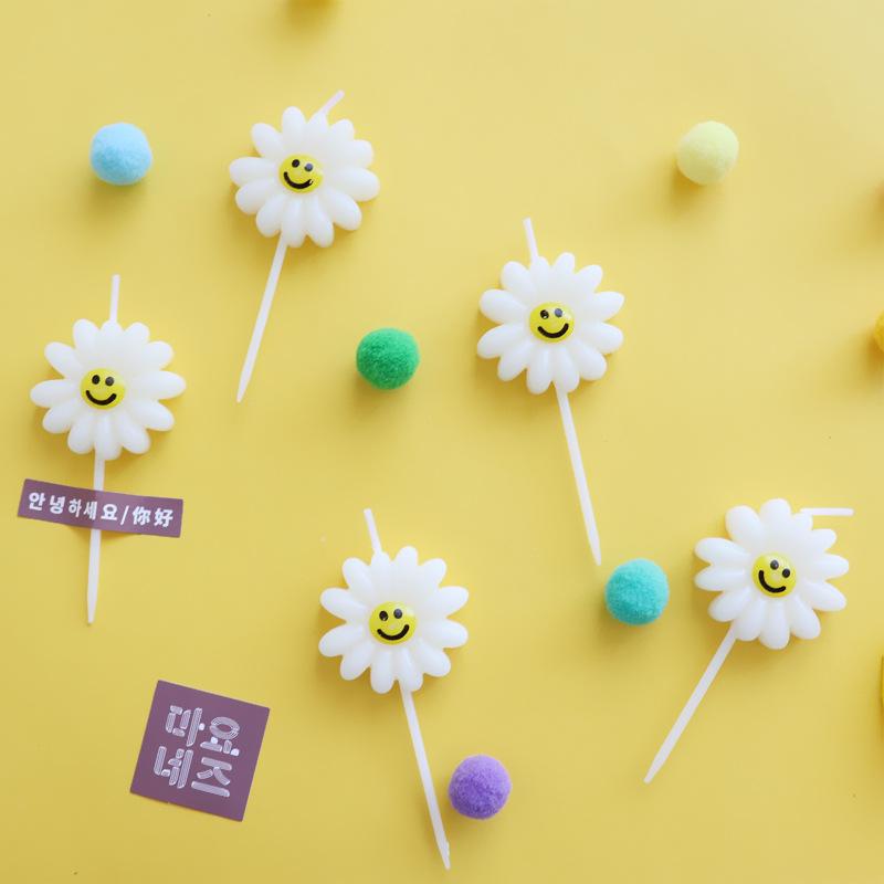 NLSX Nến in hanfeng ít hoa cúc trắng hoa sinh nhật bánh nướng trang trí nến lưới đỏ bên hình ảnh đạo