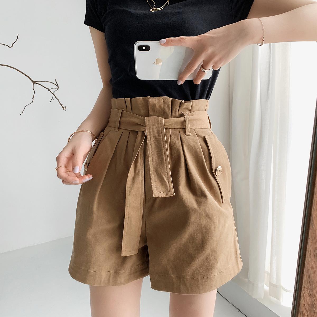 hàng trào lưu mới M gia đình phụ nữ đơn giản tính khí đàn hồi dây thắt lưng quần short màu rắn nữ MF