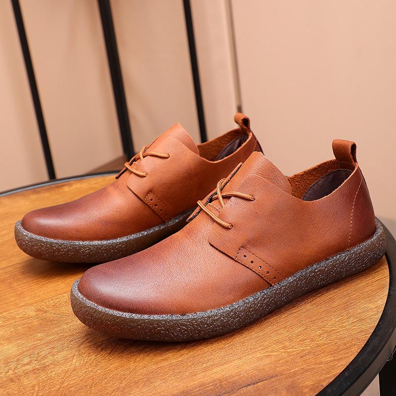 Giày da Giày nam Giày da thông thường Giày da retro của Anh Giày da mềm mại Mặt tròn bằng da Đầu mềm
