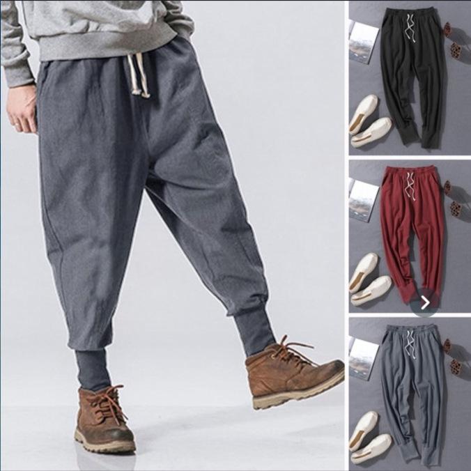 Quần Casual Chúc mùa xuân và mùa hè mới quần retro quần thường vải cotton nam và chân vải lanh quần