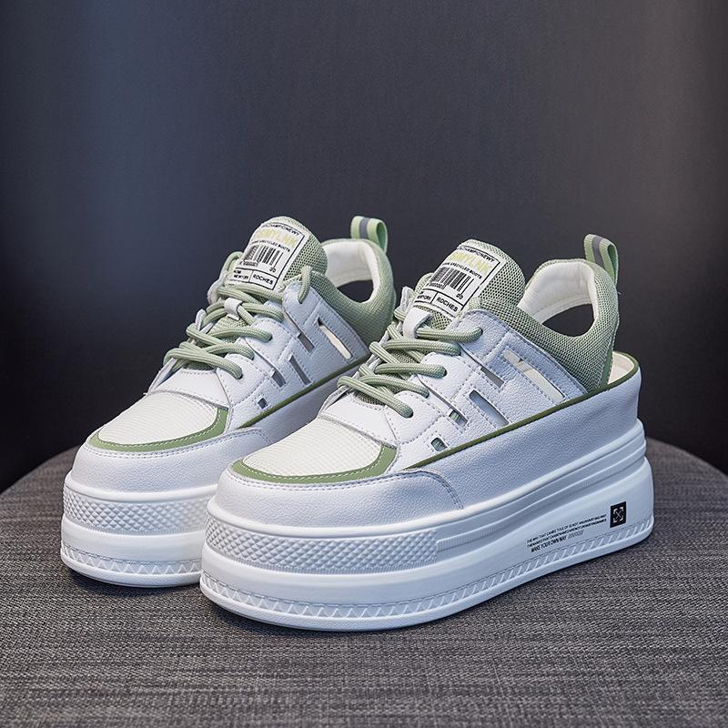 Giày bánh mì Giày cao gót nhỏ 8 cm 2020 mùa hè rỗng mới dày đáy giày thoáng khí đôi giày thể thao mu
