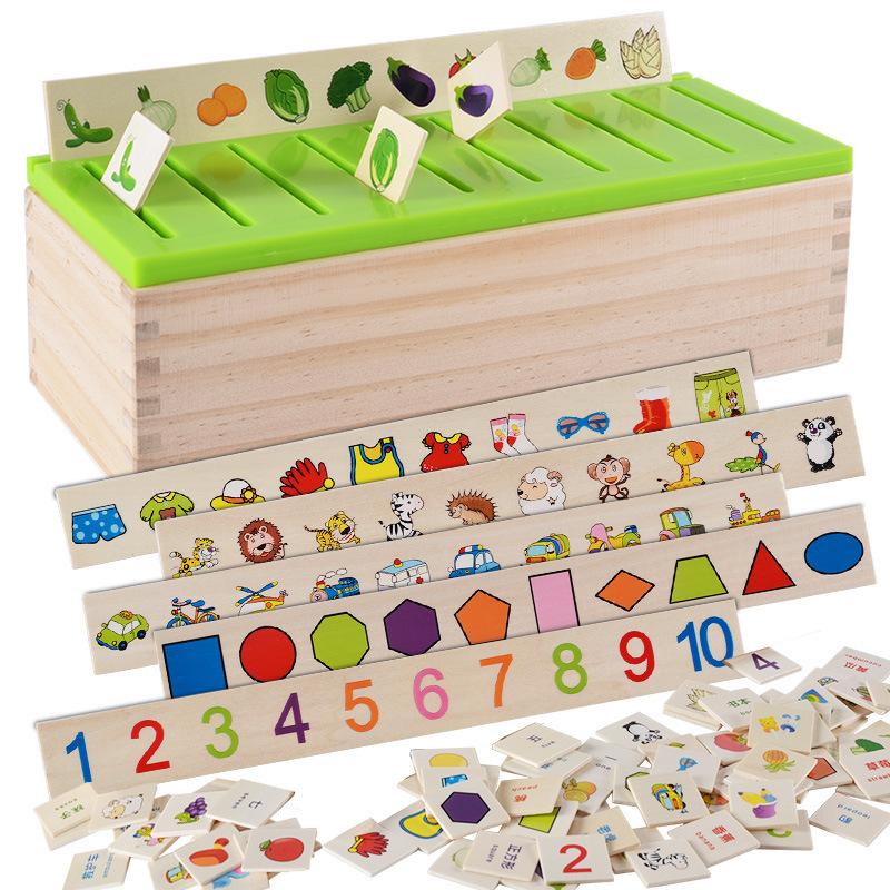QIAOWA Bộ đồ chơi rút gỗ Kết hợp hình dạng kỹ thuật số phù hợp với khối xây dựng hộp phân loại kiến