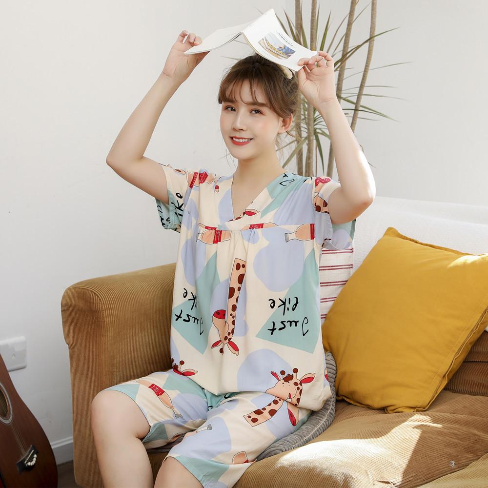 Đồ ngủ Mùa hè 2020 phụ nữ mỏng bán buôn quần short ngắn tay Phiên bản Hàn Quốc của bộ đồ ngủ cotton