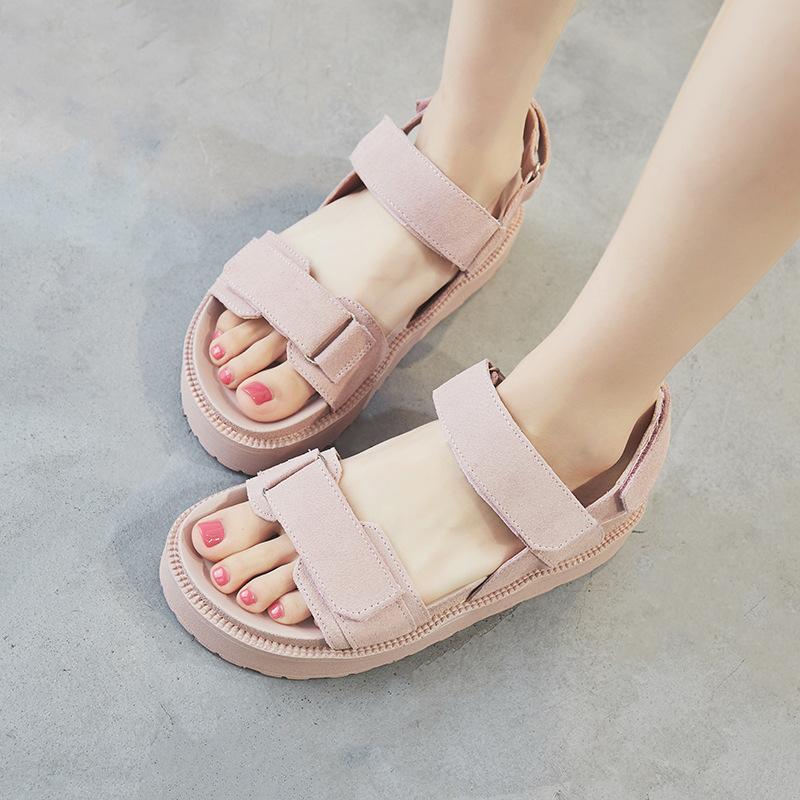 OUYANIER giày bánh mì / giày Platform 2020 mới mùa hè da dày đáy phiên bản Hàn Quốc dép muffin hoang