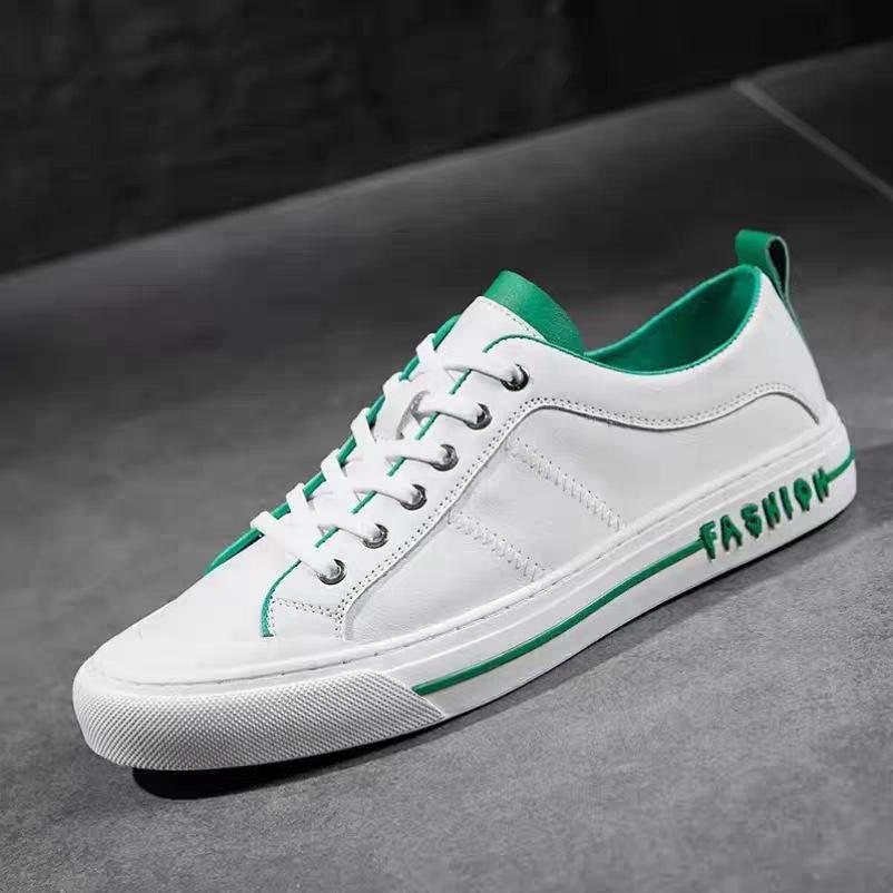 Giầy dép Giày nam Giày da nam 2020 mùa hè Giày nam mới xu hướng Giày da trắng hoang dã Giày trắng