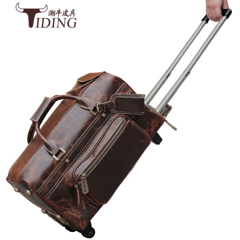 Tiding VaLi hành lý Túi du lịch bằng da retro mới của Chao Niu dành cho nam giới, túi xe đẩy cỡ lớn