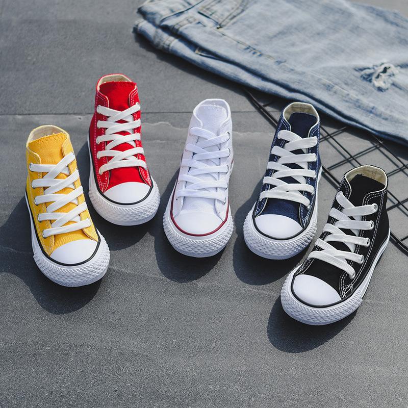 Opoee giày vải Giày trẻ em 2020 mùa xuân mới trẻ em giày vải bé trai và bé gái Giày cao cổ ren Hàn Q