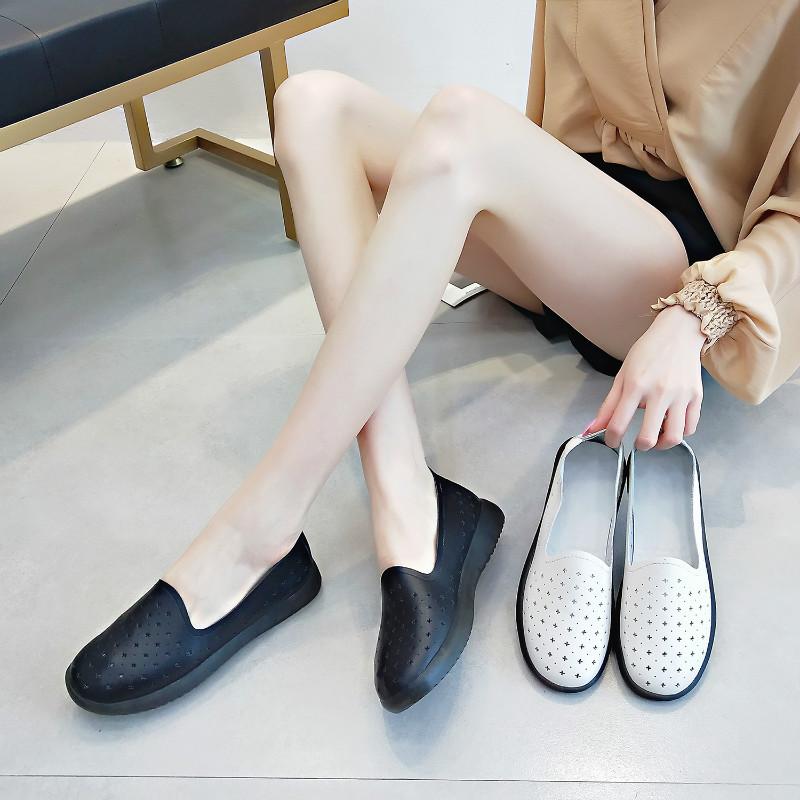 Giày lười giày mọi với chất da mềm đế phẳng cho nữ .