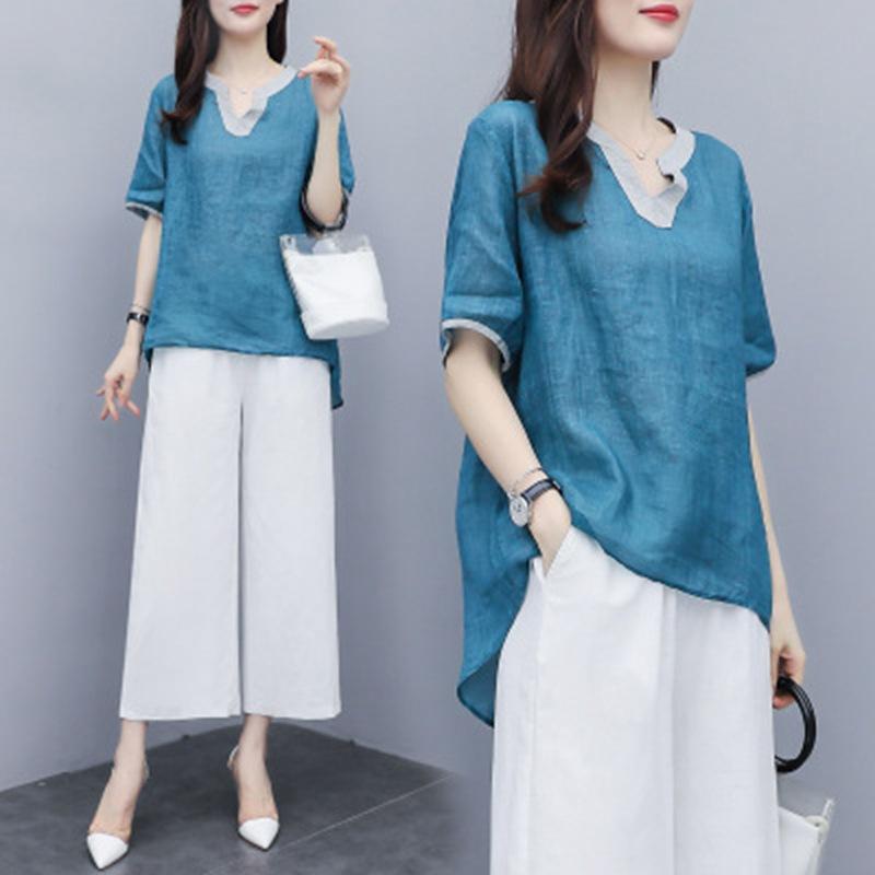 Đồ Suits 2020 quần ống rộng mới phù hợp với nữ mùa hè voan hàng đầu thời trang giản dị khí chất kích
