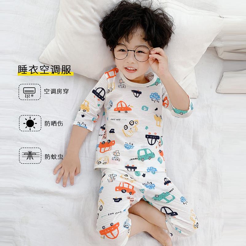 MENGHUANWA Đồ ngủ trẻ em Mùa hè 2020 trẻ em quần áo máy lạnh bé trai đồ ngủ phù hợp với phim hoạt hì