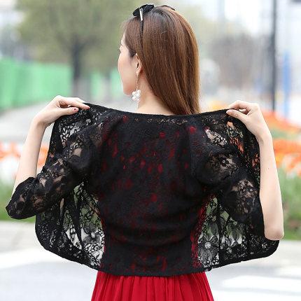 Áo khoác Cardigan  Áo choàng nhỏ ren mùa hè hoang dã ngắn của phụ nữ với váy treo mùa xuân và mùa th
