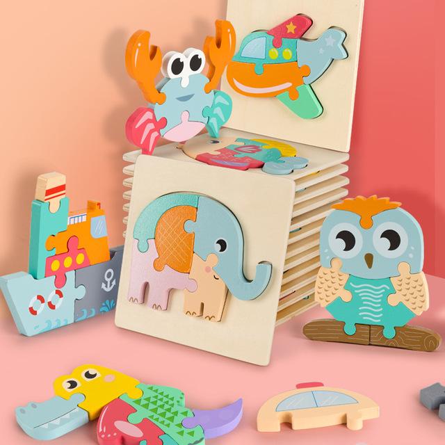 CHENMU Đồ chơi bằng gỗ Đồ chơi trẻ em 3 tuổi Đồ chơi giáo dục sớm giáo dục bán buôn phim hoạt hình p